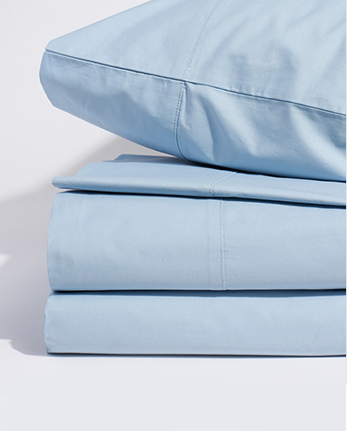limited edition percale bedding in mist blue