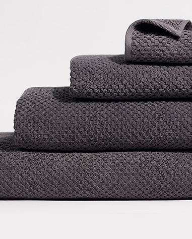 waffle towel collection in charcoal